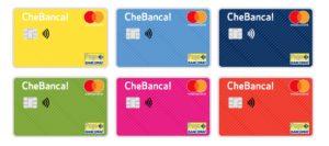 esempio dei sei colori di carte conto Tascabile