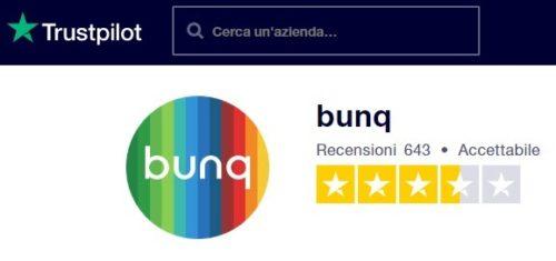 valutazione trustpilot clienti bunq gennaio 2020