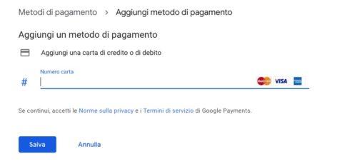 passaggio 2 per aggiungere carta su google pay