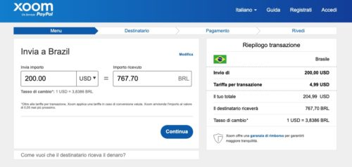 esempio commissioni invio soldi in brasile con xoom